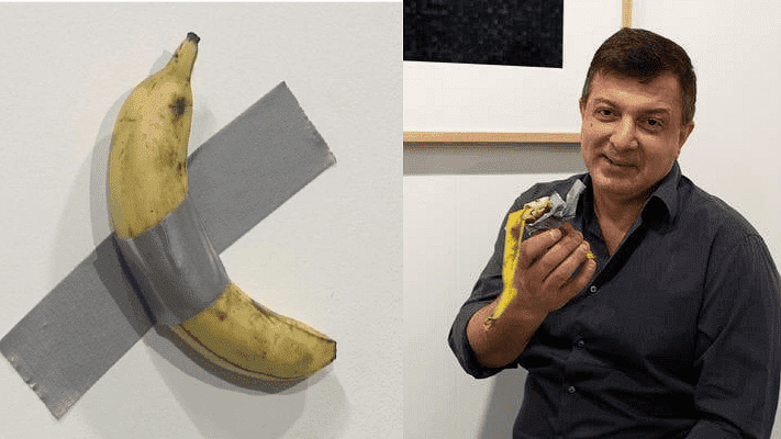 Miami Art Gallery: A man eats an artwork banana worth $120k