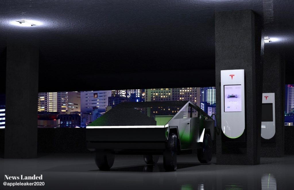 Tesla Supercharger with display, charging Cybertruck