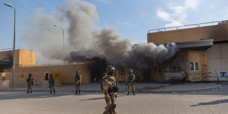 Three rockets hit the U.S. Embassy in Baghdad, Iraq, but the source is unknown