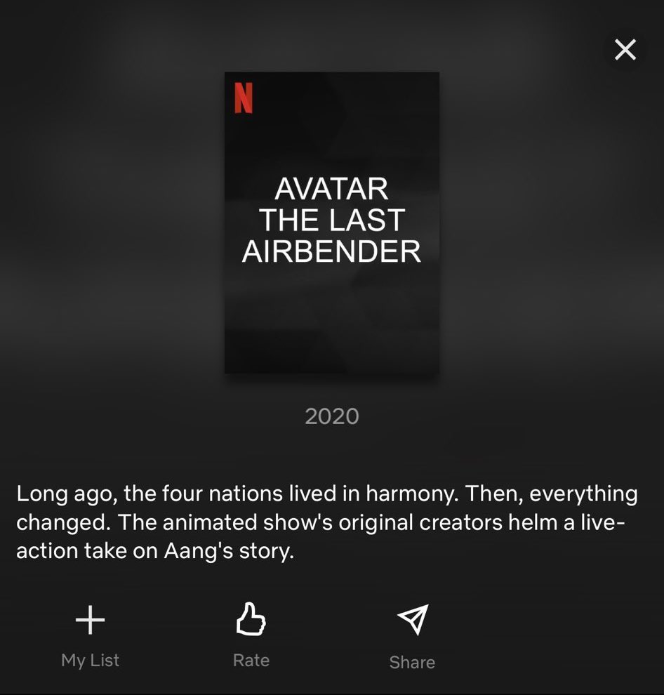 Netflix Avatar: The Last Airbender listing