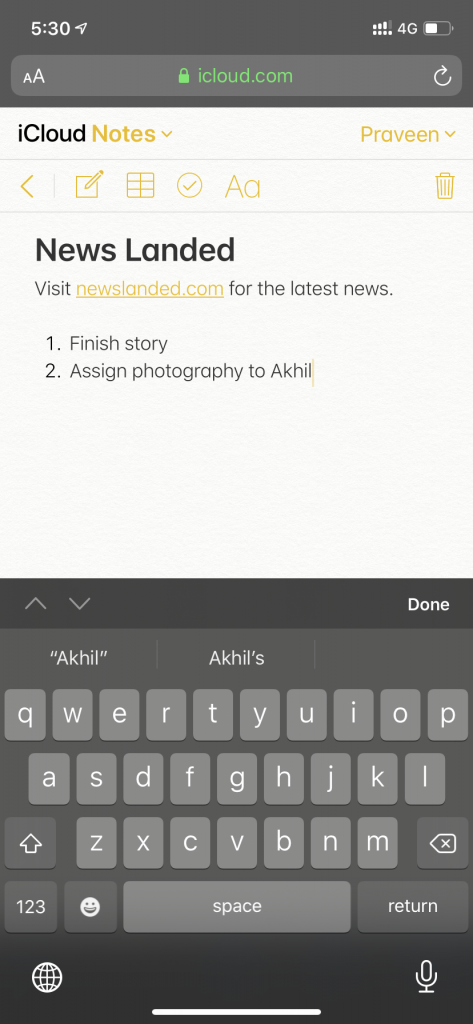 iCloud.com Notes on Safari for iOS