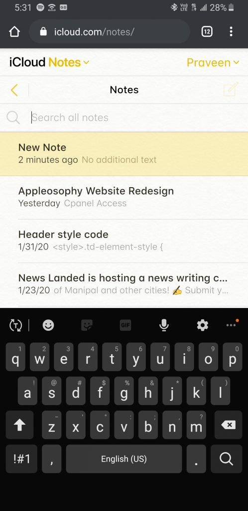 iCloud.com Notes on Chrome for Android